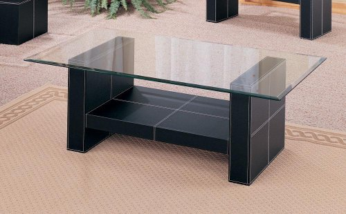 Delicieux Bonded Leather Coffee Table With Glass Top
