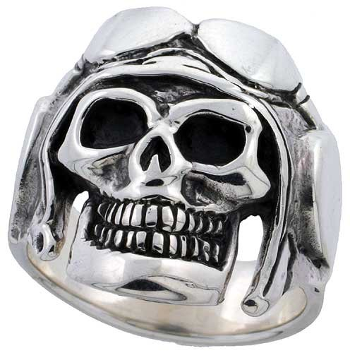 Sterling Silver Skull with Motorcycle Helmet 1 inch wide, size 11