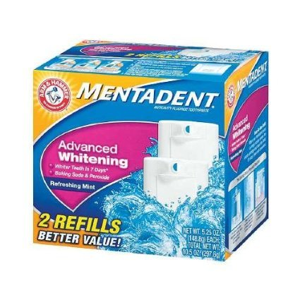Mentadent Toothpaste Twin Refills 5.25 Oz, Advanced Whitening Refreshing Mint (Pack of 6) 63 Oz Total (Mentadent Dispenser compare prices)