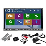 Rear Camera Included 2015 Pupug New Model 7-Inch Motorized Double-2 DIN In Dash Car DVD Player Touch screen LCD Monitor with DVD/CD/MP3/MP4/USB/SD/AM/FM/RDS Radio/Bluetooth/Stereo/Audio and GPS Navigation SAT NAV Wall Paper exchange HD:800*480 LCD+Windows