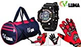 V-Luma Combo of Red Gym Bag with Bikers Gloves & Sports Digital Watch VLCOM1011