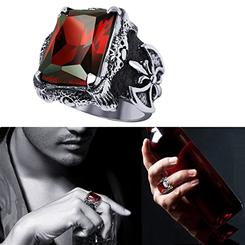 Men Ring by Tooge, Ruby Red Stone of Cool Skull-Stainless Steel Ring in Gothic Style - Size 10 (Mens Stainless Steel Ruby Ring compare prices)