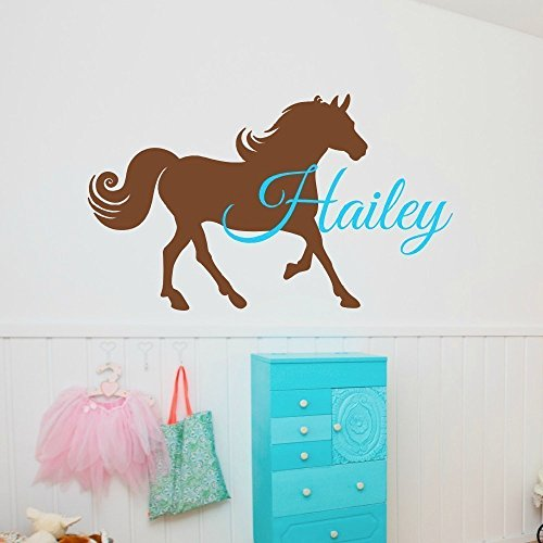 Horse Wall Decal with Name (Blue And Brown Wall Decals compare prices)