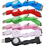 Bestbuy 3in1 USB Retractable Sync Charge Cable for Mini /Micro USB / iPhone 4 4S iPod(random color)