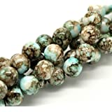 50 X MINT/CHOC MOTTLE EFFECT GLASS ROUND BEADS 10 MM