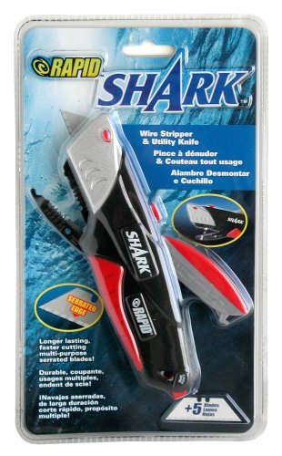 Rapid Tools RT00035 Shark Utility Knife with Wire Cutters and 5 Serrated Blades
