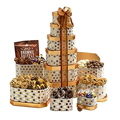 Broadway Basketeers Holiday Towering Heights Gourmet Gift Tower with an Assortment of Chocolate, Snacks, Sweets, Cookies and Nuts by Broadway Basketeers