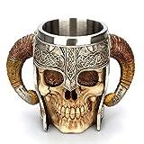 Arola Stainless Steel Double Handle Horn Skull Beer Cup, Viking Warrior Skull Mug Tankard, Medieval Skull Drinkware Mug for Coffee/Beverage/Juice 17oz. (Color: Silver)