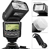 Altura Photo E-TTL Auto-Focus Dedicated Flash (AP-C1001) for Canon DSLR Cameras including Rebel EOS T3i T4i T5i T2i T1i SL1 20D 30D 40D 50D 60D 70D 5D 6D 7D, EOS 700D 650D 600D 550D 500D 100D + Flash Stand + Protective Pouch + Hard Diffuser + MagicFiber Microfiber Lens Cleaning Cloth