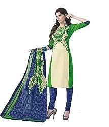 Urban Vastra Cream Green Solid Cotton Dress Material ( 1606AP )