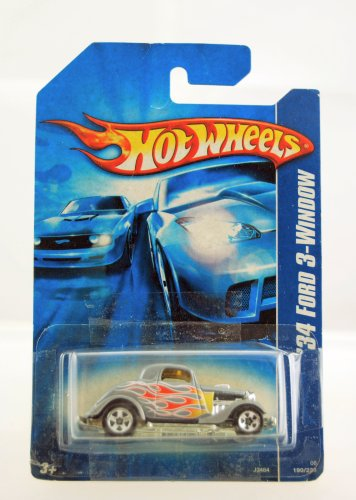 Hot Wheels - 2006 - 1934 Ford 3 Window - Silver w/ Flames Paint - #190/223 - Limited Edition - Collectible - 1