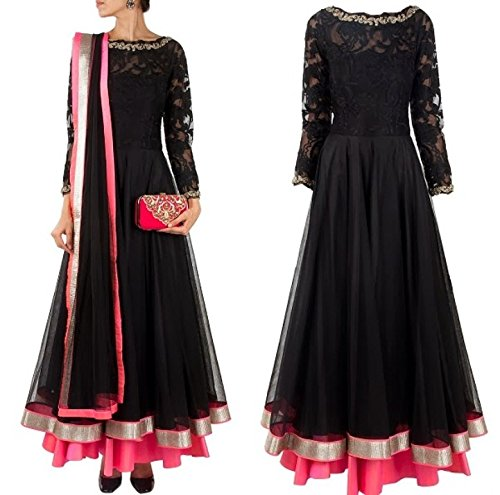 Black Embroidered Semi Stitched Anarkali Suit