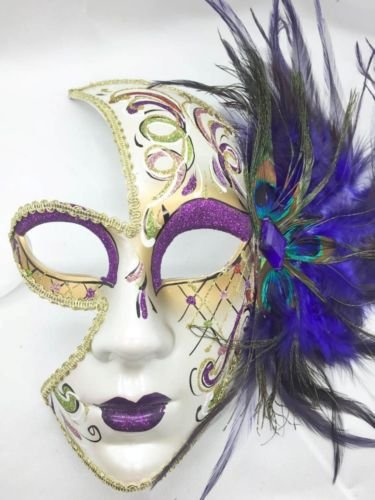 [Full Face Masquerade Mask Purple Peacock Feathers Gems Ball Halloween Party Mask] (Peacock Spider Costume)