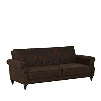 3-er Sofa Schlaffunktion Stoffbezug dunkelbraun 222x86x92cm - Modell Rutterford
