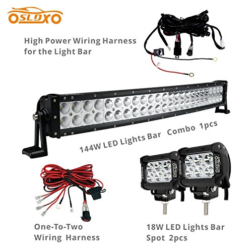 SLDX 144w 26inch Off Road Curved Combo Led Light Bar 2pcs 18w Spot Light Bar Free Two Wiring Harness (26 Led Light Bar compare prices)