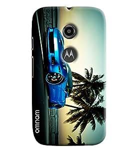 Omnam Blue Car On Road Printed Designer Back Cover Case For Moto E2