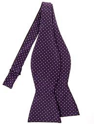 Retreez Pin Dots Woven Microfiber Self Tie Bow Tie - Purple with White Pin Dots
