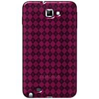 Amzer AMZ92934 Luxe Argyle High Gloss TPU Soft Gel Skin Case for Samsung Galaxy Note (Hot Pink)