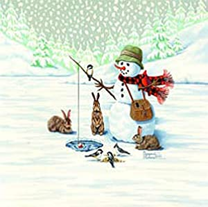JWM Collection Fisherman Snowman Canvas Art by Margaret Cobane, 20 by 20-Inch