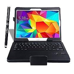 IVSO Samsung Galaxy Tab S 10.5 Keyboard case , Ultra-Thin High Quality Bluetooth Keyboard Portfolio Case - DETACHABLE Bluetooth Keyboard Stand Case / Cover for Samsung Galaxy Tab S 10.5 Tablet- With a Stylus Pen (Black)