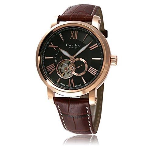 (フルボデザイン)Furbo Design 腕時計 スケルトン ステンレススチール/ピンクゴールドIPコーティング スケルトン ブラックダイアル メンズサイズ [並行輸入品]