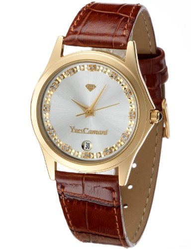 Yves Camani Women's Twinkle Quartz Watch with Silver Dial Analogue Display and Brown Leather Bracelet 302-GBR