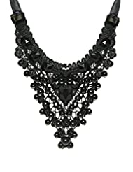 Fayon Contemporary Statement Black Adjustable Chains Bead Bib Charm Necklace