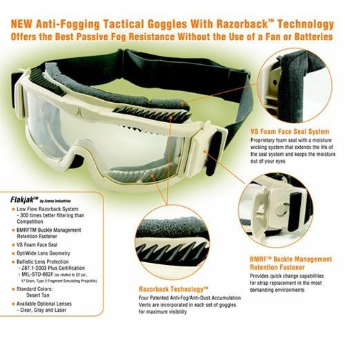 Flakjak dust free Desert ANTI-FOG Goggles - Paintball, motorcycle, mountain biking, skiing, snowboarding, and many more sports