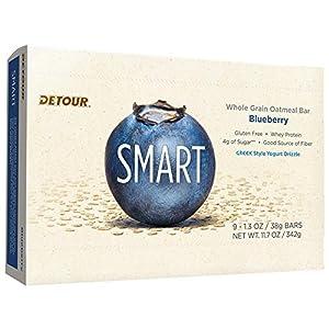 Detour Smart Nutrition Bars, Blueberry,1.3 oz Bars, 9 Count