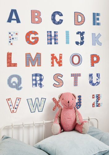 FunToSee Alphabet Boys Nursery and Bedroom Wall Decals, Alphabet