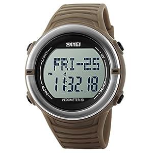 Panegy Outdoor Boys Girls Students Cool Sport Digital Sport LED Quartz Alarm Stopwatch Chronograph Wrist Watch - Yellow