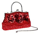 2016 New Womens Beading Evening Bags Elegant Ladies Handbags Sequined Party Wedding Purses Handmade Flowers Day Clutches (Red)