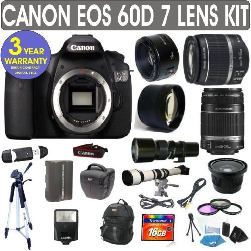 Canon Eos 60D + Canon 18-55Mm Lens + Canon 55-250Mm Lens + Canon 50Mm Lens +500Mm Preset Lens + 650-1300Mm Lens + .40X Fisheye Lens + 2X Telephoto Lens + Extra Battery + 3 Year Celltime Warranty Repair Contract