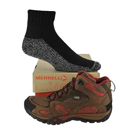 Merrell Womens Azura Mid Waterproof Shoe with FREE Made in USA socks Bundle