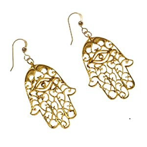 Small Hamsa Gold Dipped Earrings
