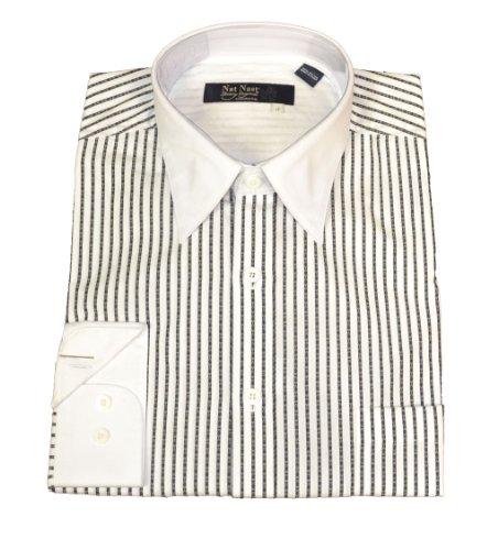 Nat Nast Striped Button Down Shirt Black & White-LT