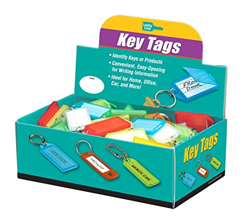 Lucky Line Products Key Tag with Flap & Split Ring,100 Per Box; Assorted Colors (60500)