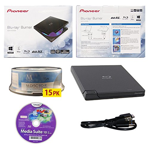 pioneer-bdr-xd05-6x-slim-usb-30-portatile-bd-dvd-cd-burner-con-15pk-gratis-software-mdisc-bd-media-s