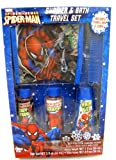 Marvel Spiderman Travel Bath and Shower Set for Boys - Includes Body Wash, Shampoo,hair Gel,travel Bag, & Comb