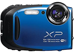 Fujifilm FinePix XP75/XP70-BLUE Waterproof 16.4MP Digital Camera with Full HD Video Movies, Wi-Fi, 3D Panorama, Shockproof Freezeproof Dust/Sandproof, CMOS Sensor & 5x Optical Zoom Lens (Blue) - {Brown Box Packaging}