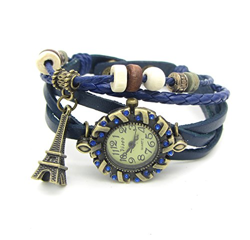 Cilver Fashion valentines special Eiffel tower Pendant blue leather watch bracelet