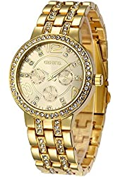 Fanmis Geneva Alloy Band Quartz Watch Classic Unisex Crystal Wrist Watch Gold