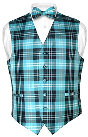 Men's Plaid Design Dress Vest BOWTie Black Turquoise White