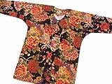【金彩牡丹と桜・黒赤】 義若オリジナルの鯉口シャツ 男女兼用 (3L 巾広サイズ)