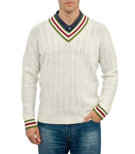 Mens Lambswool Cable Trimmed V-Neck Jumper Winter White/PeaMarl Medium
