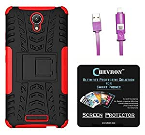 Chevron Tough Hybrid Armor Back Cover Case with Kickstand for Xiaomi RedMi Note 2 Prime with HD Screen Guard & 2 In 1 Data Cable (Red)