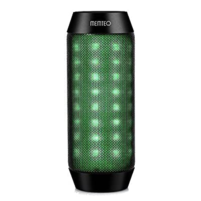 MEMTEQ Portable Wireless Bluetooth Speaker, Outdoor Indoor Rechargeable Speaker with LED Multi-Color Light, Built-in Mic, TF Card Support, FM Radio, 8 Hours Playtime