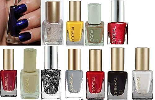 (Pack 13 ) L'Oreal Limited Edition Colour Riche /Runway Nail Polish,491 The Mystic'S Fortune, Tweet Me 101, Silver Sparkle 162, The Temptress Power 696, He Red My Mind 430, The Queen'S Might 296, Park Ave Luncheon 201, The Queen'S Ambition 291, Greycian G front-22293