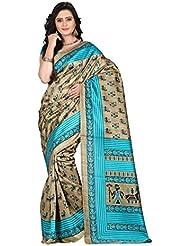 E-VASTRAM Womens Art Mysore Printed Silk(NS10B_Green)