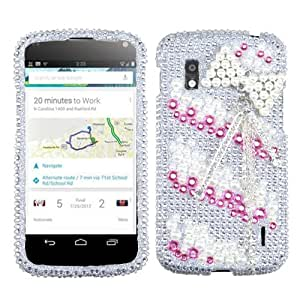 MyBat 3D Diamante Protector Cover for LG E960 - Retail Packaging - Pink Bow Chain Premium